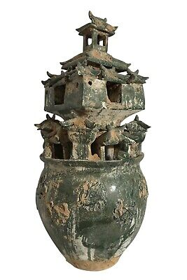 Monumental Chinese Han Style Tall Lead Glazed Moulded Pottery Urn