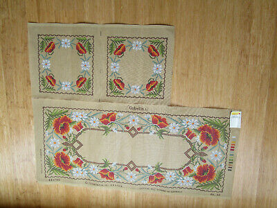 Golelin L Tapestry Of A Poppys & Daisies Table Runner & ? 2Cushion Covers .
