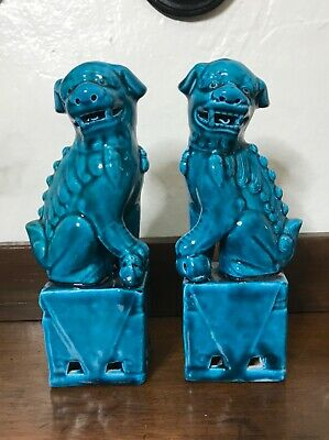 Vintage Chinese Porcelain Turquoise Foo Dog Figurines - a Pair chinoiserie chic