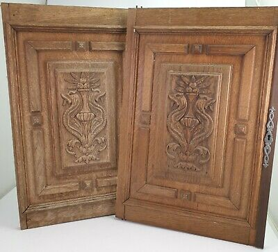 Pair of Antique Reclaimed Hand Carved Wooden Cabinet Doors