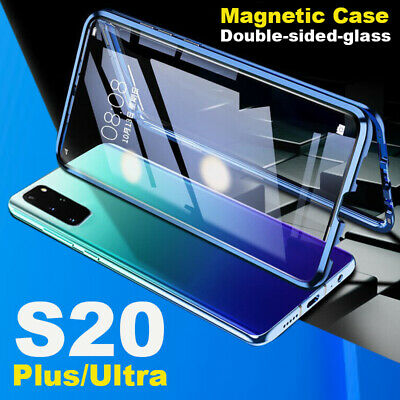 For Samsung Galaxy S20 Ultra S10 S9 S8 Magnetic Double Tempered Glass Case Cover