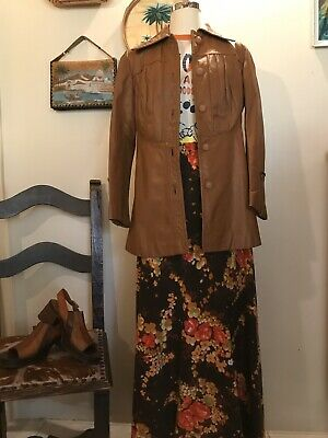 Vintage 70s Leather Jacket Beautiful Detail BOHO Small
