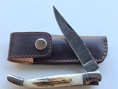 Custom Handmade French Laguiole Damascus Steel Pocket Knife With Stag Horn