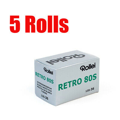 5 Rolls Rollei Retro80s 35mm 135-36exp Black&White Film Fresh 2022
