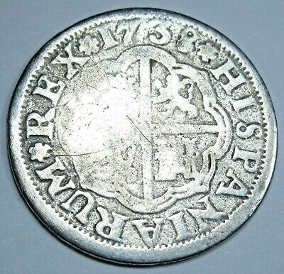 1738 Spanish Silver 1 Reales Old Antique Colonial Era Pirate Treasure Cross Coin