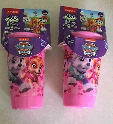 NEW Playtex 360* Paw Patrol PINK Stage 2 sippy drink cup-2 piece cup (Lot of 2)