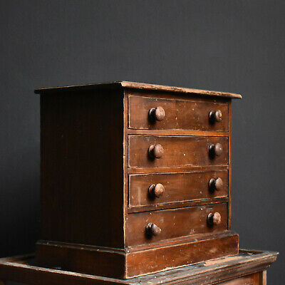 Mahogany Collectors Drawers Victorian Cabinet Antique Miniature Chest
