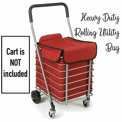 Polder Folding Cart Bag Liner Shoping Basket Swivel Wheel Rolling Utility Troley