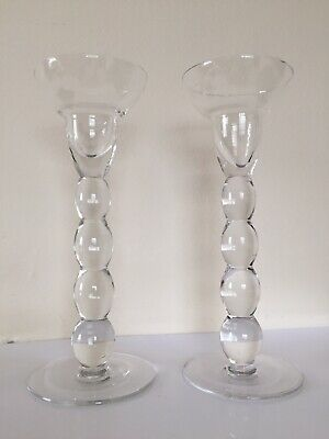 Pair Of Glass candle stick holders NEW