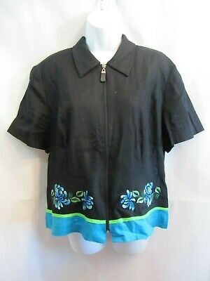 Positive Attitude Black Full Zip Top Turquoise Blue & Green Trim  Size 16