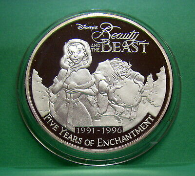 1996 1 OZ .999 PURE SILVER ROUND COIN DISNEY BEAUTY /& THE BEAST HOLIDAYS