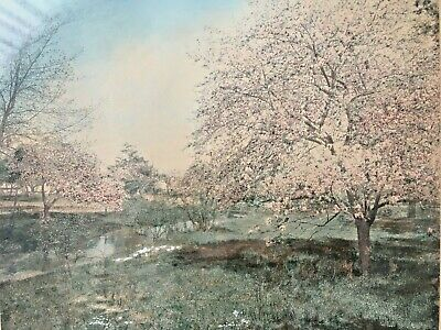 "Original Hand Colored Photograph ""The Orchard Brook"" Signed Wallace Nutting"