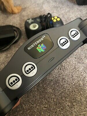 Nintendo 64 Console Launch Edition Charcoal Grey W/ Cables - Tested / Working