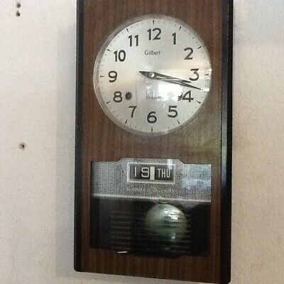 Vintage Gilbert Chime Pendulum Wind Up Date/Day Wall Clocks