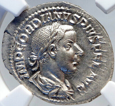 GORDIAN III Authentic Ancient 240AD Silver Roman Coin SECURITAS NGC MS i82895