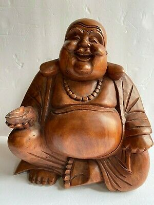 "Rare Vintage Hand Carved Chinese Buddha Sculpture Heavy Hard Red Wood 11.75"" H"