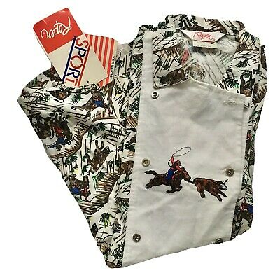 Vintage Roper Sport Western Shirt XS Embroidered Calf Roping
