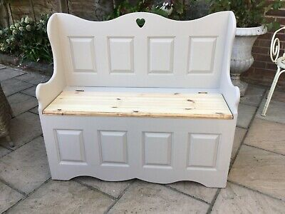 Country Chic Solid Pine Monks Bench Pew Chair Hall Storage Bench Heart Detail
