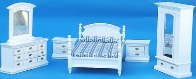 Wooden White Single Bedroom Doll House Furniture Set