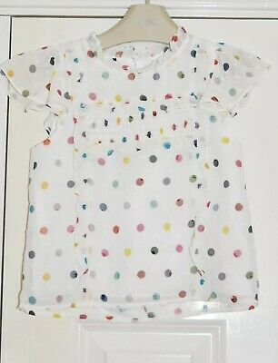 BNWT Girls Next Size 2-3 Years White Spot Top *Blouse