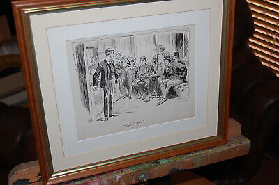 "Original antique 1893 pen & ink sketch by Harold Lewis from ""The Ring-London"""
