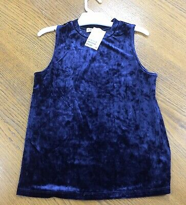 Girls Blue Velour Style  Tunic Top - H&M - Size 12-14 Years (158-164 cm) - BNWT