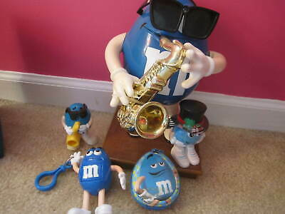 M&M's Blue Candy Dispenser Limited Edition Blues Cafe Sax Player PLus 4 others