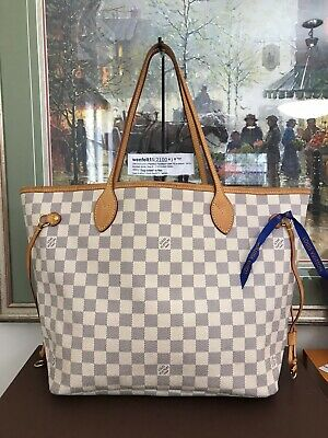 ❤Louis Vuitton Damier Azur Neverfull MM ❤ 100% Auth LV Tote 871461