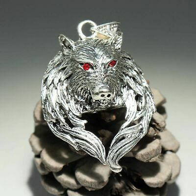 Collectable China Old Miao Silver Hand-Carved Wolf Delicate Unique Noble Pendant