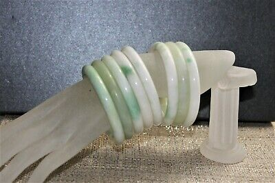 Estate Find Vintage lot 8 White Apple & Nephrite variety Jade Bangle Bracelets