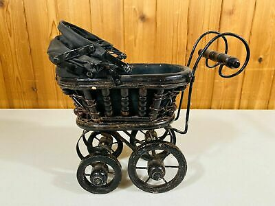 Vintage BABY DOLL CARRIAGE Stroller Buggy Wicker Wood Metal Victorian Style