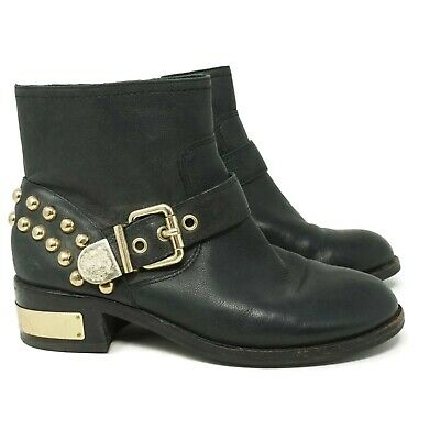 Vince Camuto Womens Windetta Studded Moto Ankle Bootie Size 6 Black Gold Leather