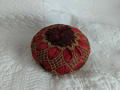Vintage 1920s - 30s Crocheted Over Red Silk Sewing Pin Cushion