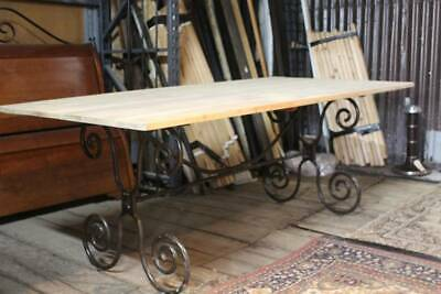 A Large Vintage French Wrought Iron and Timber Table 2m x 1m