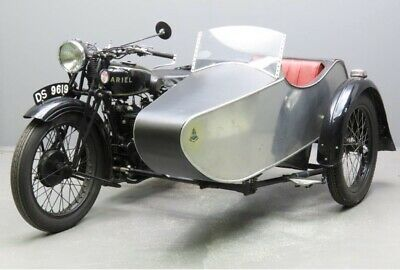 Rare  1930 ARIEL 557cc model B DELUXE with alloy sports sidecar,