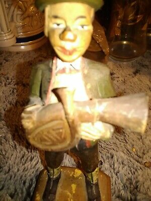 Vintage Wooden Carved Man Musician With French Horn