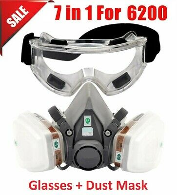 7 In 1 Half Face Suit for 6200 Gas Spray Painting Protection Respirator