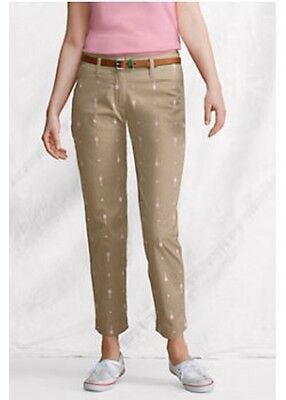 LANDS' END PANTS Size: 4 Petite NEW Embroidered Ankle Length Капри SHIP FREE