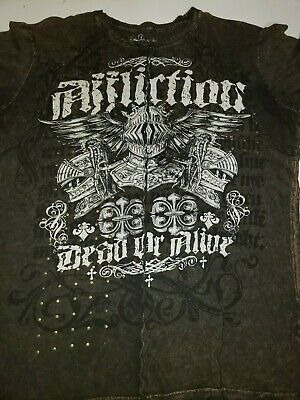 Affliction t-shirt, knight Dead of alive, studded with offset seems ..