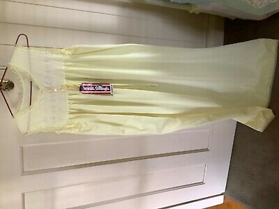 Vintage Diamond Cut  Nightie Lace Trim Lemon  Size: 12/14? New
