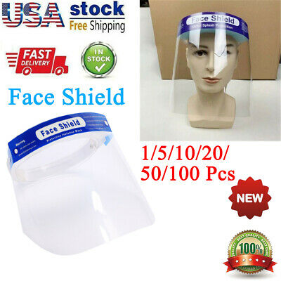 1-100X Safe Anti-fog Full Face Shield W/Clear Face Transparent Work Industry Lot