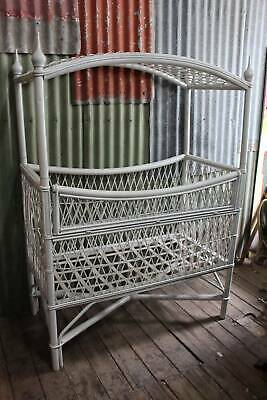 A Large Vintage White Cane Dolls Cot or Bed with Canopy Top