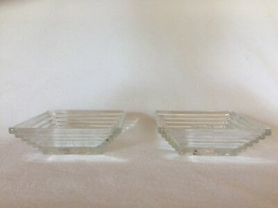 Anchor Hocking Crystal MANHATTAN Candlesticks Candle Holders Free U.S. Shipping