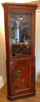 Chinese ornamental display cupboard, hand painted, red