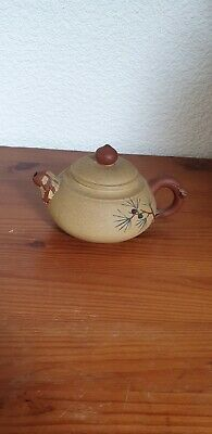 Unusual vintage Antique Chinese Japanese Small Teapot Clay Signed hand made red