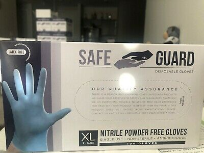 Safeguard Nitrile disposable gloves, Powder free, Latex free, X-Large blue