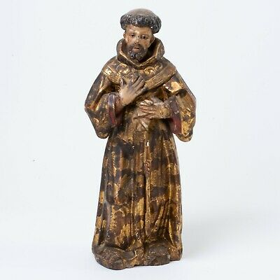 """Antique Santo Saint Carved Wood & Gesso Gold Gilt Painted Robes Glass Eyes 15"""""""