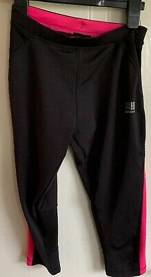 Karrimor Girls Black & Pink 11-12 Years 3/4 Length Running Leggins