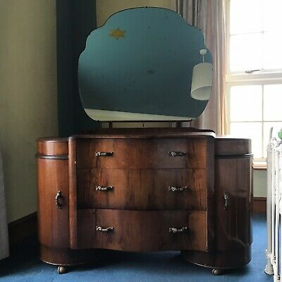 Art Deco style Walnut Vanity Unit / Dressing Table And Drawers Made by Shrager