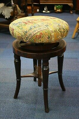 Charming 19Thc Faux Rosewood Piano Stool